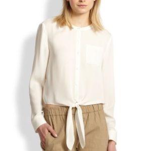 Theory silk tie-waist blouse